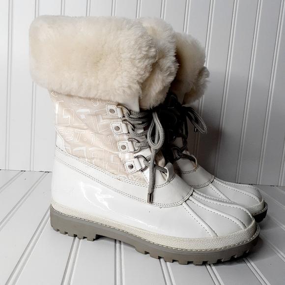 Coach Leonora Patent Leather Snow Boots